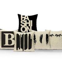 Cushion Decorative Pillow Black White Letters Stripes Cushion Cover Home Decorative For Sofa Car Seat Square Pillowcase Living Textile