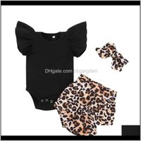 Baby, Kids & Maternitytwo-Piece Childrens Suit Born Infant Baby Girl Solid Romper Bodytsuit+Leopard Print Short Set Outfits Casual Clothing S