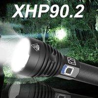 손전등 토치 LED XHP90.2 가장 강력한 300000 LM XHP90 토치 USB XHP50 충전식 XHP70 전술 18650 손 램프