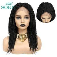 합성 가발 땋는 레이스 프런트 가발 여성을위한 아기 머리를 가진 블랙 컬러 브레이드 Soku 중간 부분 상자