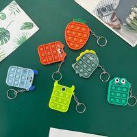 Fidget Toy Sensory Keychains Party Favor Push Bubble Cartoon Simple Dimple Key Chain Stress Reliever Decompression Toys ZZA3378