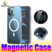 Custodia trasparente per iPhone 12 Mini 11 Pro MAX TRASPARENTE PROTECTIVE CELLONPHONE PELLE POSTERIORE ANCORA ASCOTTUALE TPU TPU Custodia per cellulare magnetiche Izeso