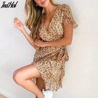 Summer Boho Beach Dress Women Floral Print Ruffle Wrap 2021 Sexy V Neck A Line Chiffon Mini Sundress Robe Femme Casual Dresses