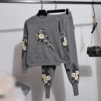 Autumn Winter Knit Set Women Fashion Beading Flower Long Sleeve Knitted Sweater + Casual Small Feet Pants Two Piece Women's Tracksuits