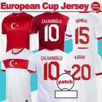 2020 2021 Avrupa Kupası Türkiye Futbol Forması # 10 ÇALHANOĞU # 19 KABAK HOME White Down Futbol Gömlek Millet Ekibi Futbol Üniformaları Özelleştirilmiş Taylandlı Quaility