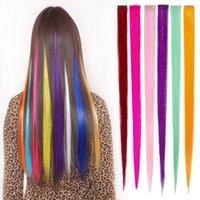 Moda extensão de cabelo para mulheres clipe sintético longo em extensões retas festa de festa de penteado