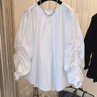 Women's Blouses & Shirts Shirring Puff Sleeve Women Tops Korean Solid Pullover Blouse Shirt Autumn 2021 O-neck
