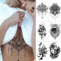 120*190MM Waterproof Temporary Tattoo Sticker Chest Lace Henna Mandala Flash Tattoos Wolf Diamond Flower Body Art Decorations Arm Fake Tatoo for Women Men