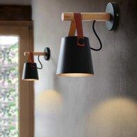 Duvar Lambası LED Lambalar Abajur Oturma Odası Aplikleri Için Işık E27 Soket Nordic Ahşap Kemer Kapalı Başucu Beyaz / Siyah