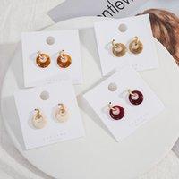 4 colores círculo hueco acrílico gota pendientes pequeños C forma oro colgante pendiente vintage bohemio moda colgante araña