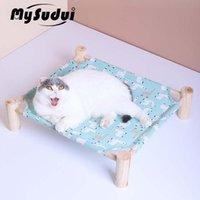 Catillas de gato Muebles Mysudui desmontable elevado mascota cama casa duradera lona de madera durmiendo perrito hamaca radiador tumbona gatos mascotas