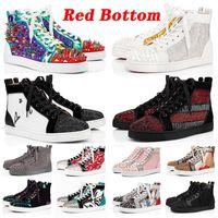 Avec boîte desinger Red Bottoms Platform Studded Spikes loafers fond rouge Designer Marque de luxe Baskets Hommes Femmes Baskets Chaussures baskets de marque