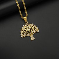 Iced Out Gold Color Life tree Necklace Pendant With Chain Stainless Steel Zircon Crystal Bling Men Women Hip Hop Jewelry