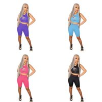 Plus Size Women Summer Letters Printed Tracksuit Sleeveless Top T-shirt + Shots Two-piece Clothes Suit Vest Five Pants Casual Sports Outfits Yoga Gym Sportwear G698T4A
