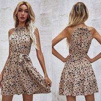 Elegant A-Line Dress Hollow Out Design Bandage Decor O-Neck Sleeveless High Waist Slim Mini Dress Summer Dress For Women 2021