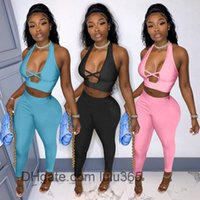 Women Two Piece Pants 2021 summer new Designer Fashion women's V neck cross sexy hollow out waistcoat and trousers Solid color Slim Outfits lulu365