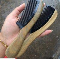 Ym estatua de cobre sándalo natural con búfalo cuerno peine masaje antiestático scalp cuero cabello curling peine creativo regalo