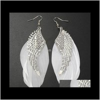 Chandelier Fashion Femmes Ear Coup de bijoux Sterling Sier Wings Cristal Chic Beauty Wing of the Angel Feather Boucles d'oreilles Dangle Tezk Wuuyq