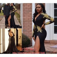 Sexy Black High Slit Long Sleeves Mermaid Evening Dresses 2020 Gold Appliques Deep V Neck Backless Formal Party Gowns Arabic Prom Dress Long