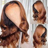 Perruques de cheveux humains de l'onde de corps ombre pour femmes noires 180 désnity honey blonde prérefin de la perruque frontale HD transparente