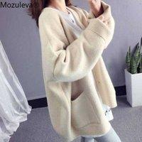 Mozuleva Fashion Basic Women Knitted Cardigans Solid Loose Casual Long Sleeve Elegant Sweaters Coat Female Jacket 210706