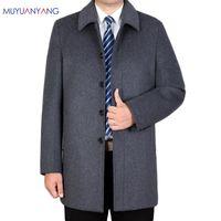 Men's Wool & Blends Mu Yuan Yang Winter Woolen Jackets Turn-down Collar Man Overcoat 2021 Casual Men Jacket 3XL 4XL Large Siz