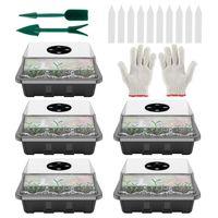 12 células Sembrador de orificios Kit de jardinería macetas Planta Semillas de cultivo Caja caja de bandeja Insertar caja de siembra invernadero Pottín de plántulas con guantes de etiqueta de elevación proveedor de Amazon