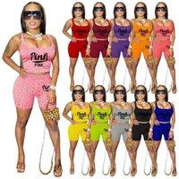 Mulheres Roupas Yoga Vest Shorts Set Tracksuit Dois pedaços Super Elastic Strap Top Shorts Summer Womens Roupas 11Color G582WPL