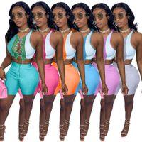 Abbigliamento femminile Abbigliamento 2 pezzi Dress Skirt Set Primavera Sexy Bandaggio Sexy Thread Thread Thread Cut Out Colore Contrasto T-shirt Cappotto Cappotto in cima pantaloni corti