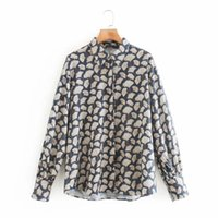 Vintage Women Gingko Leaf Printing Long Sleeve Shirt Casual Femme Turndown Collar Blouse Lady Loose Tops Smock Blusas S7908 210430