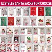 DHL Boże Narodzenie Santa worki na płótnie bawełniane torby duże organiczne ciężkie sznurek torby spersonalizowane festiwal party świąteczne dekoracje nas stock CS10