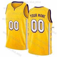 Пользовательские DIY мужской дизайн Лос-Анджелес Баскетбол Джерси Спортивные рубашки Персонализированные сшитые буквы Имя команды и номер Универса