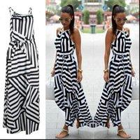 Damen Kleid Sommer Maxi Lange Mode Frauen Sexy Boho Gestreifter Sleeveless Strand Stil Strap Sundress Vestidos Für Frau Bigsweety