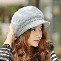 Favor Hat female autumn and winter ladies knit beret Korean version plus velvet thickening earmuffs duck tongue fur