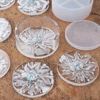 Artesanato Ferramentas DIY Epoxy Resina Silicone Molds Circular Branco Cristal Drop Caixa De Armazenamento Caixa Redonda Coaster Artesanato Ferramentas Molde Chegada 9 5RH M2 7BN5