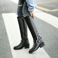 YMEKİK 2018 Kış Peluş Blcak Kahverengi Bayan Ayakkabı Toka Düşük Tıknaz Topuk Orta Buzağı Yüksek Uzun Şövalye Çizmeler Kadın Botas Artı Boyutu E6GD #
