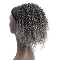 Silver grey kinky curly Drawstring Ponytail colored Pony Hair Pieces Ombre ash gray color for African American Women Afro real puff bun updo Extension hairpiece120g