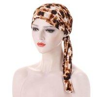 Beanie / Kafatası Kapaklar Moda Şapka Avrupa / Amerika Birleşik Devletleri Leopar Desen Arc Çiçek Bez Kap Müslüman Kafa Süt Ipek Set 190