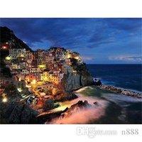 Versand, reine handgemalte freie HD-Druck Meer Nachtlandschaft Kunst Ölgemälde auf Leinwand, hochwertiger Wall Home Decor L225 200311