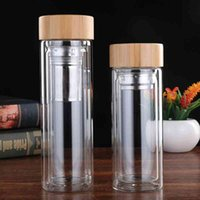 Glass Tea Tumbler Strainer Infuser Basket Glass Transparent Water Bottles Portable Bamboo Lid Water Cups Double Walled VT1805