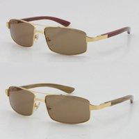 Großhandel Verkauf Unisex 4480316 Dekor Holzrahmen Sonnenbrille Großer Quadrat C Dekoration Gold Gläser Männliche und weibliche Mischhörner Eyewear UV400 Objektiv