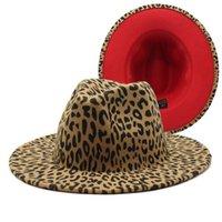 레이디 모직 교회 모자 밴드 와이드 플랫 브림 재즈 모자를위한 레오파드 페도라 모자 세련된 Trilby 파나마 모자