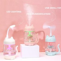 Essential Oils Diffusers 3 In 1 350ML USB Cat Air Humidifier Ultrasonic Cool-Mist Adorable Mini With LED Light Fan For Home Of