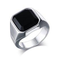 Acier inoxydable Haute Bagate Black Agate Black Bague Mode Bijoux Anneaux Accessoires Silver Taille 8-12 814 R2