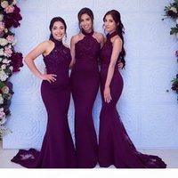 Seksi Üzüm Mermiad Nedime Elbisesi Ucuz Uzun Yüksek Boyun Düğün Misafir Siyah Kız Düğün Balo Akşam Parti Abiye