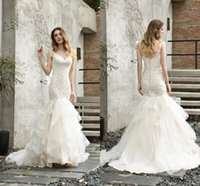 Charming Mermaid Wedding Dresses Lace Bridal Gowns Open Back With Wave Train
