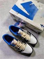 2021 Travis Scott Fragment X 1 Low Athletic Shoes Military Blue 6 Britische Khaki Männer 1s High Og Ts Sb Cactus Jack Dunk DM7866-140 Segel Wildleder Sneakers mit Box