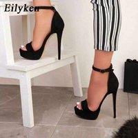 Black Eilyken Gladiator Buckle Strap Platform Sandals Women 2021 Summer Pumps Thin High Heels Club Party Shoes Ladies Sandalias