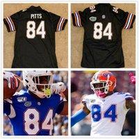 NCAA Florida Gats 84 Kyle Pitts الأسود كرة القدم مخيط جيرسي النساء الرجال الشباب الفانيلة الأزرق البرتقالي الأبيض أعلى جودة