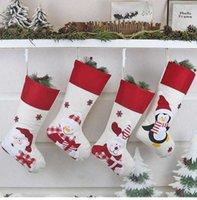 Chaussette de décoration de maison de Noël Décorée Créativement décorée Cadeau d'enfants Sacs de snacks de Noël Spray Hang Joli dessin animé Renne Santa Claus